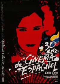 9k230 30 ANS DE CINEMA ESPAGNOL 20x28 French film festival poster '88 colorful artwork of woman!