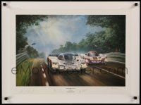 9k335 ALAN FEARNLEY signed #677/850 21x28 art print '87 by the artist + Al Holbert, Bell and Stuck!