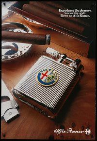 9k423 ALFA ROMEO 27x39 advertising poster '80s great image of cigar and lighter!