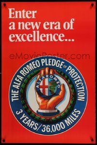 9k422 ALFA ROMEO 24x36 advertising poster '90s a new era of excellece, pledge of protection!