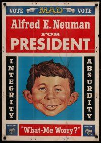 9k488 ALFRED E. NEUMAN FOR PRESIDENT 21x30 special '60s Mad Magazine, what - me worry?