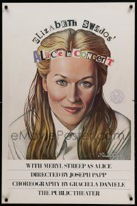 9k059 ALICE IN CONCERT 25x38 stage poster '80 artwork of Meryl Streep in title role by Paul Davis!