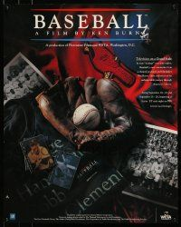 9k499 BASEBALL 24x30 special '94 Ken Burns, great images of glove, ball and memorabilia!