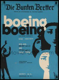 9k060 BOEING BOEING 20x27 Venezuelan stage poster '66 cool abstract art by Kovacs!