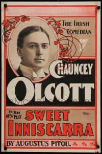 9k057 SWEET INNISCARRA 20x30 stage poster 1897 starring Chancey Olcott, The Irish Comedian!