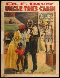 9k042 ED. F. DAVIS' UNCLE TOM'S CABIN 21x28 stage poster c1907 Uncle Tom leaving, overseer w/whip!