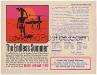 9k003 ENDLESS SUMMER 9x11 special '65 Bruce Brown, John Van Hamersveld art, predates the 1sheet!