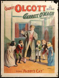 9k043 GARRETT O'MAGH 30x40 stage poster 1901 art of Chauncey Olcott singing Paddy's Cat to kids!