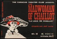 9k064 MADWOMAN OF CHAILLOT 26x38 Venezuelan stage poster '70s cool Kovacs art of old woman!
