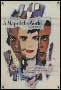 9k065 MAP OF THE WORLD 28x40 stage poster '85 Roshan Seth and Zeljko Ivanek, Paul Davis art!