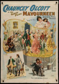 9k049 MAVOURNEEN 28x40 stage poster 1900 Chauncey Olcott in the great Irish play, cool montage!