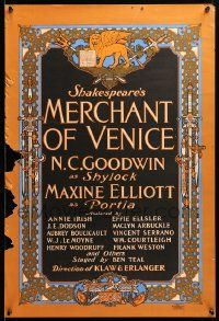 9k050 MERCHANT OF VENICE 20x29 stage poster 1901 N.C. Goodwin as Shylock, William Shakespeare!