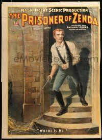 9k054 PRISONER OF ZENDA 21x28 stage poster 1895 Daniel Frohman producer, king seeks vengeance!