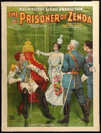 9k053 PRISONER OF ZENDA 21x28 stage poster 1895 Daniel Frohman producer, art of secret exposed!