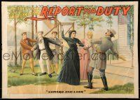 9k055 REPORT FOR DUTY 21x29 stage poster 1899 Confederate soldier hit for being a coward & liar!