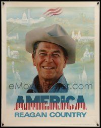 9k010 RONALD REAGAN 22x28 political campaign '80 great close up of the soon-to-be President!