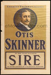9k056 SIRE 20x30 stage poster 1911 great head & shoulders portrait of Otis Skinner!