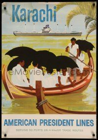 9k177 AMERICAN PRESIDENT LINES KARACHI 24x35 travel poster '57 artwork of ship by Al Merenchen!