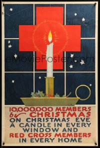 9k116 10,000,000 MEMBERS BY CHRISTMAS 20x30 WWI war poster 1917 Red Cross candle in window art!