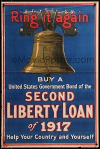 9k118 2ND LIBERTY LOAN 20x30 WWI war poster 1917 ring the Liberty Bell again & help your country!