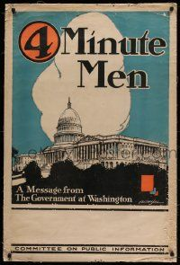 9k119 4 MINUTE MEN 28x42 WWI war poster 1917 great H. Devitt Welsh art of U.S. Capitol Building!