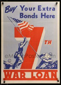 9k072 7TH WAR LOAN 20x28 WWII war poster '45 iconic art of U.S. Marines raising flag at Iwo Jima!