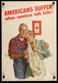 9k075 AMERICANS SUFFER WHEN CARELESS TALK KILLS 14x20 WWII war poster '43 art of grieving couple!