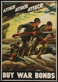 9k076 ATTACK ATTACK ATTACK 28x40 WWII war poster '42 cool Warren art of soldiers advancing!