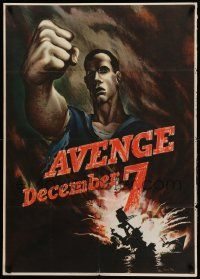 9k077 AVENGE DECEMBER 7 29x40 WWII war poster '42 attack on Pearl Harbor, Bernard Perlin art!