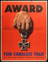 9k078 AWARD FOR CARELESS TALK 29x37 WWII war poster '44 Dohanos art, it results in Nazi medals!
