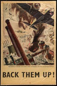 9k080 BACK THEM UP 20x30 English WWII war poster '42 Gardner art of the Knapsack Germany bombing!