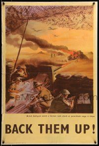 9k079 BACK THEM UP 20x30 English WWII war poster '40s Pym art of soldiers shooting German tank!