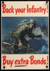 9k081 BACK YOUR INFANTRY BUY EXTRA BONDS 14x20 WWII war poster '45 Jes Wilhelm Schlaikjer art!