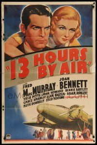 9p009 13 HOURS BY AIR style A 1sh '36 Fred MacMurray, Joan Bennett, Zasu Pitts, cool airplane art!