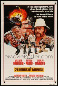 9p012 21 HOURS AT MUNICH int'l 1sh '76 cool art of William Holden, Franco Nero with grenade!