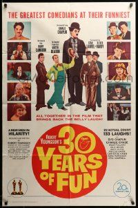 9p013 30 YEARS OF FUN 1sh '63 Charley Chase, Buster Keaton, Laurel & Hardy!