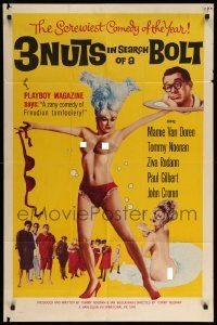 9p002 3 NUTS IN SEARCH OF A BOLT 1sh '64 sexy Mamie Van Doren wearing tassels & little else!