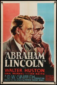 9p017 ABRAHAM LINCOLN 1sh R37 Walter Huston in the title role, D.W. Griffith directed!