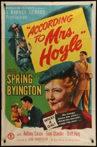 9p019 ACCORDING TO MRS HOYLE 1sh '51 Anthony Caruso, Spring Byington What a Gal!