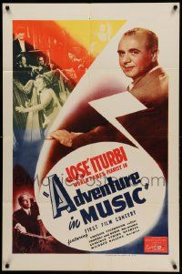 9p021 ADVENTURE IN MUSIC 1sh '44 close-up of famed pianist Jose Iturbi!