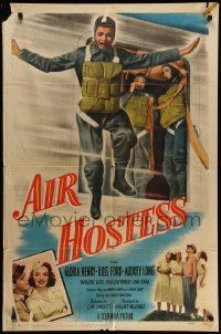 9p025 AIR HOSTESS 1sh '49 cool image of parajumper + pretty Gloria Henry!