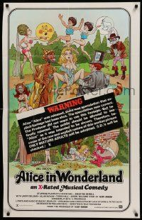 9p032 ALICE IN WONDERLAND 1sh '76 sexy Playboy cover girl Kristine De Bell, wacky warning snipe!
