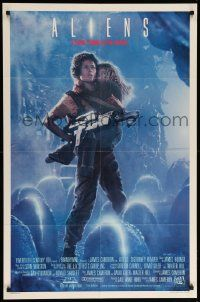 9p035 ALIENS int'l 1sh '86 James Cameron, Sigourney Weaver as Ripley holding Carrie Henn, rare!