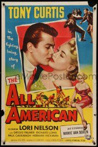 9p036 ALL AMERICAN 1sh '53 Tony Curtis kissing sexy Mamie Van Doren in her first, football!