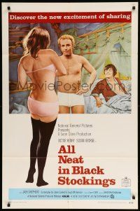 9p037 ALL NEAT IN BLACK STOCKINGS 1sh '69 Susan George, discover the excitement of sharing!