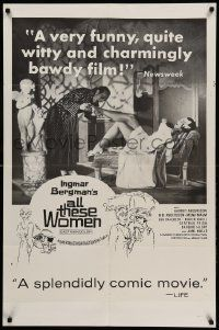 9p039 ALL THESE WOMEN 1sh '64 Jarl Kulle, Harriet Andersson, Bibi Andersson, Swedish!