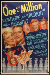 9p001 ONE IN A MILLION style B 1sh '36 Fox stone litho of ice skater Sonja Henie in her 1st movie!