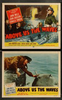 9r028 ABOVE US THE WAVES 8 LCs '56 John Mills & English WWII sailors in ship sunk by submarine!