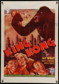 9t001 KING KONG Belgian Congo 27x38 R50s different art of giant ape over New York City!