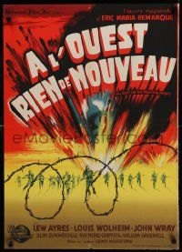 9t687 ALL QUIET ON THE WESTERN FRONT French 22x32 R50 Lew Ayres, WWII classic, Koutachy art!